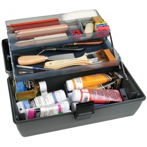 "ArtBin Metal Links Upscale 2 Tray Box: Slate Gray, 14.5"" x 8"" x 7"""