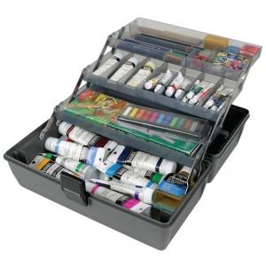 "ArtBin Metal Links Upscale 3 Tray Box: Slate Grey, 14.5"" x 8"" x 7"""
