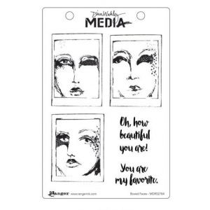 Ranger - Dina Wakley Media - Cling Stamps - Boxed Faces