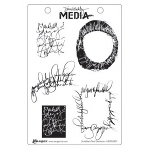 Ranger - Dina Wakley Media - Cling Stamps - Scribbled Text Elements