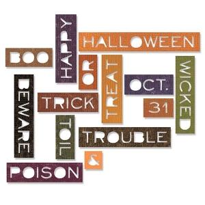 Sizzix - Tim Holtz Alterations - Thinlits Die Set - 14 Pack - Halloween Words - Thin