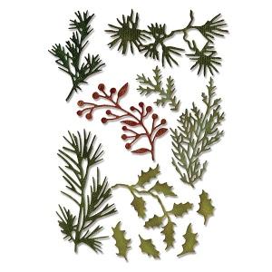 Sizzix - Tim Holtz Alterations - Thinlits Die Set - 11 Pack - Holiday Greens - Mini