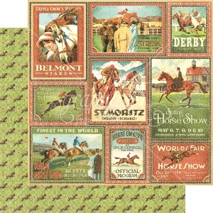 Graphic 45 - Off to the Races - Belmont Stakes 12x12 Paper