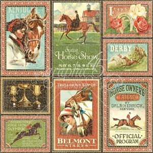 Graphic 45 - Off to the Races - Ephemera Cards