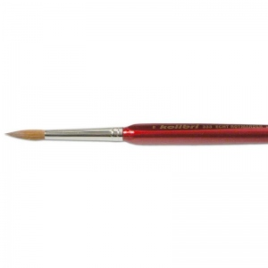 Natural Pigments Red Sable Detail Brush Size 8 - Brush Style: Round; Ferrule: Silver-plated brass; Size: 8; Hair Width: 5 mm (3/16 in.); Hair Length: 20 mm (13/16 in.)