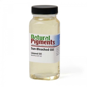 Natural Pigments Sun-Bleached Linseed Oil 8 fl oz - Natural Source: Linseed, Linum usitatissimum