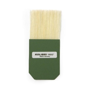 Natural Pigments Square Gilders Silver Leaf Tip 50 mm: The square gilders tip for silver leaf features white Chungking bristles glued in paperboard to pick up pieces of silver leaf or composite metal leaf on the tips of the bristles. The visible hair length is 50 mm (2 inches).