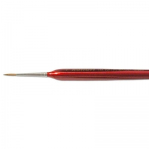 Natural Pigments Red Sable Detail Brush Size 1 - Brush Style: Round; Ferrule: Silver-plated brass; Size: 2; Hair Width: 2 mm (3/32 in.); Hair Length: 11 mm (14/32 in.)