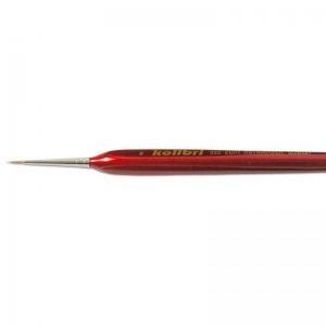 Natural Pigments Red Sable Detail Brush Size 3 - Brush Style: Round; Ferrule: Silver-plated brass; Size: 10/0; Hair Width: 0.5 mm (1/32 in.); Hair Length: 4 mm (1/8 in.)