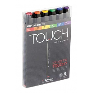 ShinHan Art TOUCH Twin Main Colors 6-Piece Marker Set; Barrel Color: Black; Double-Ended: Yes; Ink Type: Alcohol-Based; Refillable: Yes; Tip Type: Dual; (model 1100613), price per set