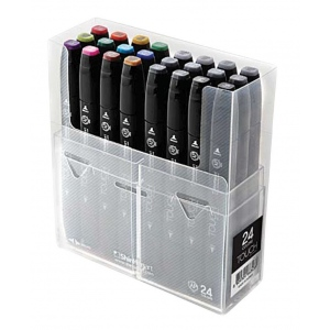 ShinHan Art TOUCH Twin 24-Color Fine & Broad Nib Marker Set; Barrel Color: Black; Double-Ended: Yes; Ink Type: Alcohol-Based; Refillable: Yes; Tip Type: Dual; (model 1102400), price per set
