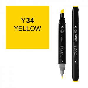 ShinHan Art TOUCH Twin Yellow Marker; Barrel Color: Black; Color: Yellow; Double-Ended: Yes; Ink Type: Alcohol-Based; Refillable: Yes; Tip Type: Dual; (model 1110034-Y34), price per each