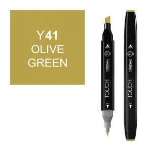 ShinHan Art TOUCH Twin Olive Green Marker: Black, Yellow, Double-Ended, Alcohol-Based, Refillable, Dual, (model 1110041-Y41), price per each