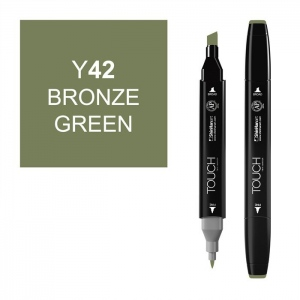 ShinHan Art TOUCH Twin Bronze Green Marker; Barrel Color: Black; Color: Green; Double-Ended: Yes; Ink Type: Alcohol-Based; Refillable: Yes; Tip Type: Dual; (model 1110042-Y42), price per each