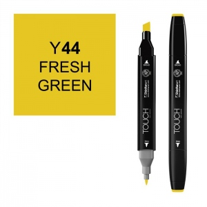 ShinHan Art TOUCH Twin Fresh Green Marker: Black, Yellow, Double-Ended, Alcohol-Based, Refillable, Dual, (model 1110044-Y44), price per each