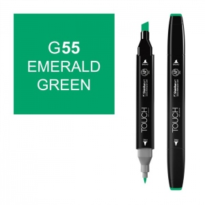 ShinHan Art TOUCH Twin Emerald Green Marker: Black, Green, Double-Ended, Alcohol-Based, Refillable, Dual, (model 1110055-G55), price per each