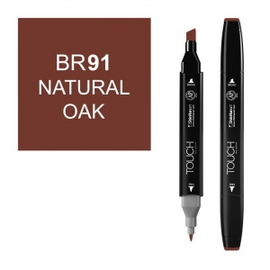 ShinHan Art TOUCH Twin Natural Oak Marker; Barrel Color: Black; Color: Brown; Double-Ended: Yes; Ink Type: Alcohol-Based; Refillable: Yes; Tip Type: Dual; (model 1110091-BR91), price per each