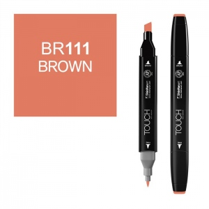 ShinHan Art TOUCH Twin Brown Marker; Barrel Color: Black; Color: Brown; Double-Ended: Yes; Ink Type: Alcohol-Based; Refillable: Yes; Tip Type: Dual; (model 1110111-BR111), price per each
