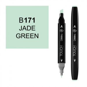 ShinHan Art TOUCH Twin Jade Green Marker; Barrel Color: Black; Color: Green; Double-Ended: Yes; Ink Type: Alcohol-Based; Refillable: Yes; Tip Type: Dual; (model 1110171-B171), price per each