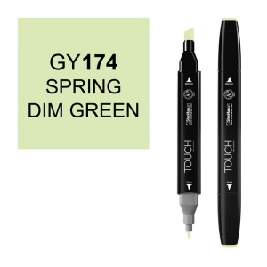 ShinHan Art TOUCH Twin Spring Dim Green Marker: Black, Green, Double-Ended, Alcohol-Based, Refillable, Dual, (model 1110174-GY174), price per each