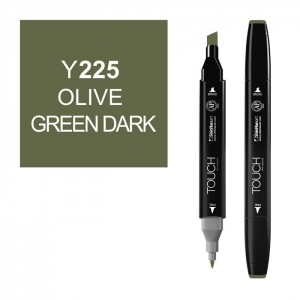 ShinHan Art TOUCH Twin Olive Green Dark Marker; Barrel Color: Black; Color: Green; Double-Ended: Yes; Ink Type: Alcohol-Based; Refillable: Yes; Tip Type: Dual; (model 1110225-Y225), price per each