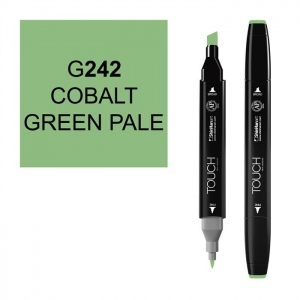 ShinHan Art TOUCH Twin Cobalt Green Pale Marker; Barrel Color: Black; Color: Green; Double-Ended: Yes; Ink Type: Alcohol-Based; Refillable: Yes; Tip Type: Dual; (model 1110242-G242), price per each
