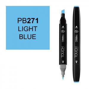 ShinHan Art TOUCH Twin Light Blue Marker: Black, Blue, Double-Ended, Alcohol-Based, Refillable, Dual, (model 1110271-PB271), price per each