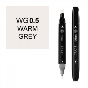 ShinHan Art TOUCH Twin Warm Grey .5 Marker; Barrel Color: Black; Color: Black/Gray; Double-Ended: Yes; Ink Type: Alcohol-Based; Refillable: Yes; Tip Type: Dual; (model 1111005-WG0.5), price per each