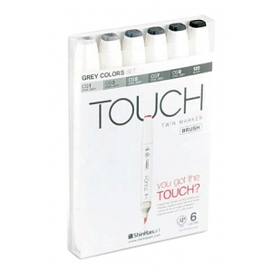 ShinHan Art TOUCH Twin Brush Grey Colors 6-Piece Marker Set: White, Black/Gray, Double-Ended, Alcohol-Based, Refillable, Dual, (model 1200604), price per set