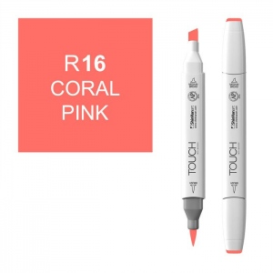 ShinHan Art TOUCH Twin Brush Coral Pink Marker; Barrel Color: White; Color: Red/Pink; Double-Ended: Yes; Ink Type: Alcohol-Based; Refillable: Yes; Tip Type: Dual; (model 1210016-R16), price per each