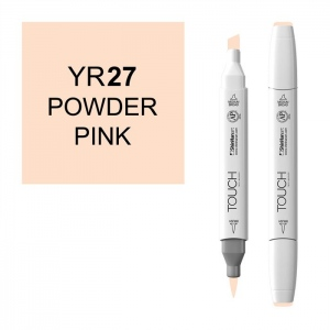 ShinHan Art TOUCH Twin Brush Powder Pink Marker; Barrel Color: White; Color: Red/Pink; Double-Ended: Yes; Ink Type: Alcohol-Based; Refillable: Yes; Tip Type: Dual; (model 1210027-YR27), price per each