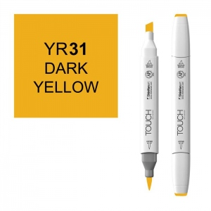 ShinHan Art TOUCH Twin Brush Dark Yellow Marker; Barrel Color: White; Color: Yellow; Double-Ended: Yes; Ink Type: Alcohol-Based; Refillable: Yes; Tip Type: Dual; (model 1210031-YR31), price per each