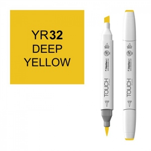 ShinHan Art TOUCH Twin Brush Deep Yellow Marker; Barrel Color: White; Color: Yellow; Double-Ended: Yes; Ink Type: Alcohol-Based; Refillable: Yes; Tip Type: Dual; (model 1210032-YR32), price per each
