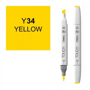ShinHan Art TOUCH Twin Brush Yellow Marker; Barrel Color: White; Color: Yellow; Double-Ended: Yes; Ink Type: Alcohol-Based; Refillable: Yes; Tip Type: Dual; (model 1210034-Y34), price per each