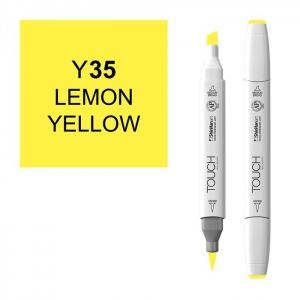 ShinHan Art TOUCH Twin Brush Lemon Yellow Marker; Barrel Color: White; Color: Yellow; Double-Ended: Yes; Ink Type: Alcohol-Based; Refillable: Yes; Tip Type: Dual; (model 1210035-Y35), price per each