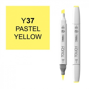 ShinHan Art TOUCH Twin Brush Pastel Yellow Marker; Barrel Color: White; Color: Yellow; Double-Ended: Yes; Ink Type: Alcohol-Based; Refillable: Yes; Tip Type: Dual; (model 1210037-Y37), price per each