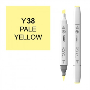 ShinHan Art TOUCH Twin Brush Pale Yellow Marker; Barrel Color: White; Color: Yellow; Double-Ended: Yes; Ink Type: Alcohol-Based; Refillable: Yes; Tip Type: Dual; (model 1210038-Y38), price per each