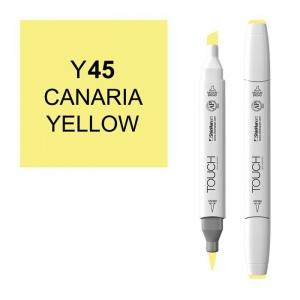 ShinHan Art TOUCH Twin Brush Canaria Yellow Marker: White, Yellow, Double-Ended, Alcohol-Based, Refillable, Dual, (model 1210045-Y45), price per each