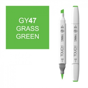 ShinHan Art TOUCH Twin Brush Grass Green Marker; Barrel Color: White; Color: Green; Double-Ended: Yes; Ink Type: Alcohol-Based; Refillable: Yes; Tip Type: Dual; (model 1210047-GY47), price per each
