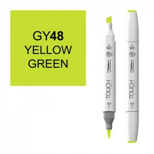 ShinHan Art TOUCH Twin Brush Yellow Green Marker; Barrel Color: White; Color: Green; Double-Ended: Yes; Ink Type: Alcohol-Based; Refillable: Yes; Tip Type: Dual; (model 1210048-GY48), price per each