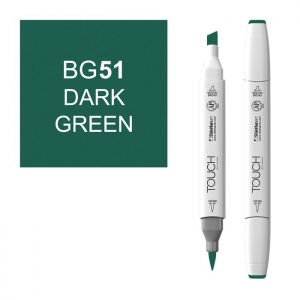ShinHan Art TOUCH Twin Brush Dark Green Marker; Barrel Color: White; Color: Green; Double-Ended: Yes; Ink Type: Alcohol-Based; Refillable: Yes; Tip Type: Dual; (model 1210051-BG51), price per each