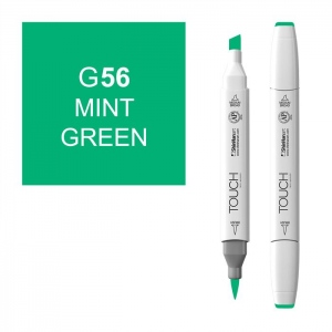 ShinHan Art TOUCH Twin Brush Mint Green Marker; Barrel Color: White; Color: Green; Double-Ended: Yes; Ink Type: Alcohol-Based; Refillable: Yes; Tip Type: Dual; (model 1210056-G56), price per each