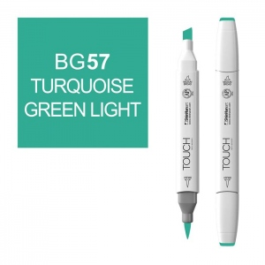 ShinHan Art TOUCH Twin Brush Turquoise Green Light Marker; Barrel Color: White; Color: Green; Double-Ended: Yes; Ink Type: Alcohol-Based; Refillable: Yes; Tip Type: Dual; (model 1210057-BG57), price per each