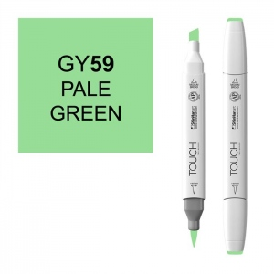 ShinHan Art TOUCH Twin Brush Pale Green Marker; Barrel Color: White; Color: Green; Double-Ended: Yes; Ink Type: Alcohol-Based; Refillable: Yes; Tip Type: Dual; (model 1210059-GY59), price per each