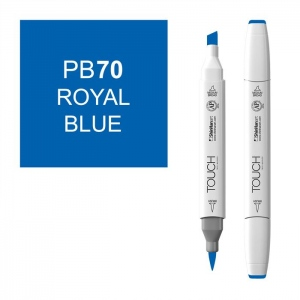 ShinHan Art TOUCH Twin Brush Royal Blue Marker; Barrel Color: White; Color: Blue; Double-Ended: Yes; Ink Type: Alcohol-Based; Refillable: Yes; Tip Type: Dual; (model 1210070-PB70), price per each