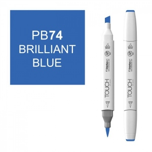 ShinHan Art TOUCH Twin Brush Brilliant Blue Marker; Barrel Color: White; Color: Blue; Double-Ended: Yes; Ink Type: Alcohol-Based; Refillable: Yes; Tip Type: Dual; (model 1210074-PB74), price per each