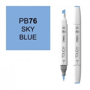 ShinHan Art TOUCH Twin Brush Sky Blue Marker: White, Blue, Double-Ended, Alcohol-Based, Refillable, Dual, (model 1210076-PB76), price per each