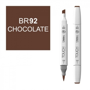 ShinHan Art TOUCH Twin Brush Chocolate Marker; Barrel Color: White; Color: Brown; Double-Ended: Yes; Ink Type: Alcohol-Based; Refillable: Yes; Tip Type: Dual; (model 1210092-BR92), price per each