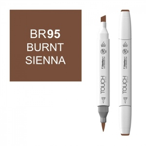 ShinHan Art TOUCH Twin Brush Burnt Sienna Marker; Barrel Color: White; Color: Brown; Double-Ended: Yes; Ink Type: Alcohol-Based; Refillable: Yes; Tip Type: Dual; (model 1210095-BR95), price per each