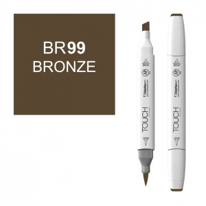 ShinHan Art TOUCH Twin Brush Bronze Marker; Barrel Color: White; Color: Brown; Double-Ended: Yes; Ink Type: Alcohol-Based; Refillable: Yes; Tip Type: Dual; (model 1210099-BR99), price per each